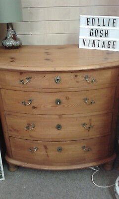 Antique Mule Chest. Bow fronted, pine drawers.
