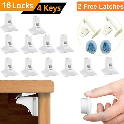 16 Invisible Magnetic Baby Child Pet Proof Cupboard Door SafetyLock+2 FREE Latch