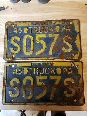 1948 PA Truck License Plates Matching Set