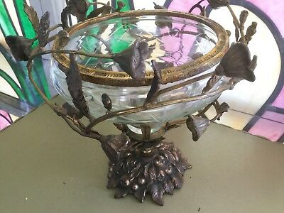 Antique vtg art nouveau compote cut glass bowl w bronze floral cage open work