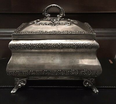 Antique Solid Silver  Etrog Judaica Box From Germany - 340 Gram