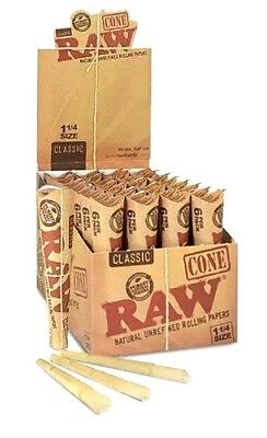 16 Packs X 6 = 96 Pcs RAW Classic Hemp 1 1/4 Pre Rolled Cones Rolling Paper