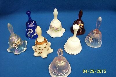 Fenton Bell Christmas Hand Painted HOLLY + Choice of 8, Red Blue White Chiffon