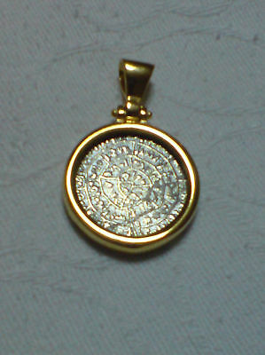 Phaistos Disc Greek Big Coin Pendant Sterling Silver 925 Gold Plated Code 1000