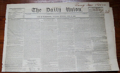 THE DAILY UNION NEWSPAPER City Of Washington April 1849 - GOLD RUSH POLK TAYLOR
