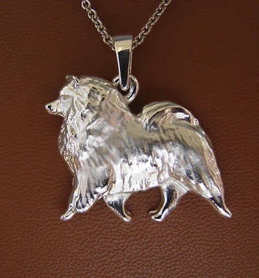 Medium Sterling Silver Keeshond Moving Study Pendant