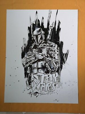 Jim Mahfood  original art Star Wars Boba Fett splash page ink drawing