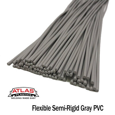 PVC Plastic Welding Repair Rods-20ft, 1LB (12in x 3mm Gray (semi-rigid))