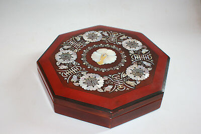 Chinese Wooden Lacquer Inlay Mother of Pearl Octagon Snack Food Box