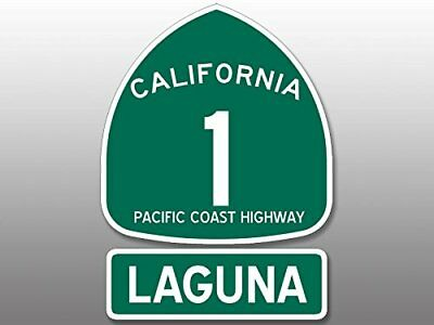 4x5.5 inch PCH Highway 1 Sign and LAGUNA Sticker -ca california road beach route
