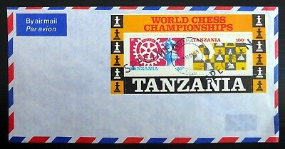 """TANZANIA 1989 World Chess/Rotary M/Sheet """"SPECIMEN"""" Unissued Used on Cover NL37"""