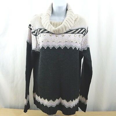 bea8adbb881 Dressbarn Womens Size XL Sweater Cowl Neck Multi Color Embellished Long  Sleeve