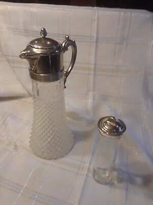 Eales 1779 Silverplate Glass decanter with ice insert.