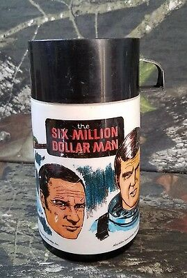 1974 Aladdin Six Million Dollar Man Thermos Bottle With Cap & Lid Dk