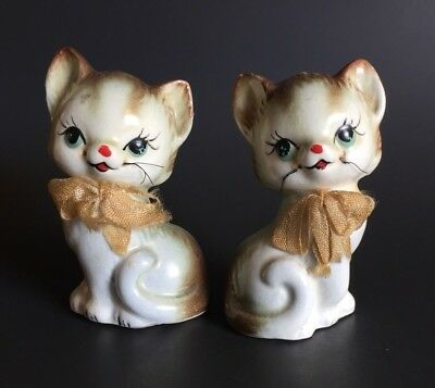 Vintage Inarco Cats Kittens with Bows Salt and Pepper Shakers Made in Japan