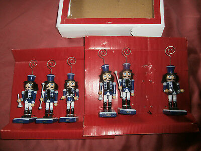 6 Nutcracker Place Card Holders for table in original box 2011 wood