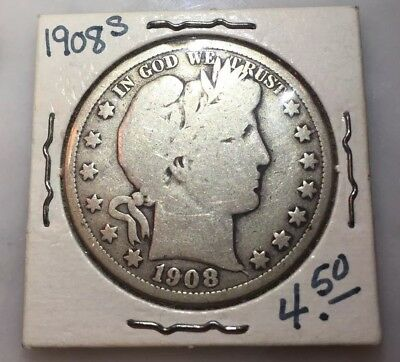 1908-S Barber Half Dollar Rare Date Silver US Mint Coin- FREE SHIPPING