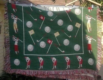 "Vintage Golfer GOLFING Themed w/ Club Pin Holes Tapestry Throw Blanket 60"" x 44"""