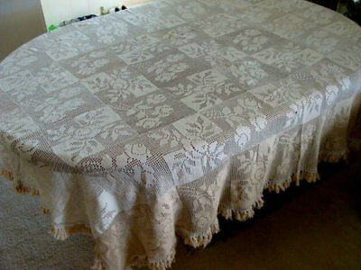 """ANTIQUE Victorian HAND MADE Lace Tablecloth 100"""" Bedspread TASSELS ROSES"""