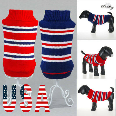 US Pet Dog Jacket Knitted Winter Clothes Puppy Sweater Coat Clothing Apparel