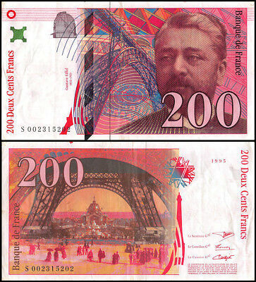 France 200 Francs Banknote, 1995, P-159a, Used, Gustave Eiffel, Tower