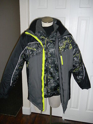Nwot Weatherproof Xxl Boy's Size 20 Black Camo Puffy 4 In 1 Parka Coat Jacket