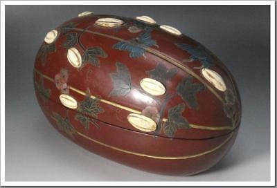 WBX07 Qing Dynasty Chinese Antique Sencha wooden Mokutai Lacquer ware box #