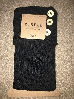 K. Bell Women's Turn Cuff And Button Boot Cuff Black Size 9-11 NWT