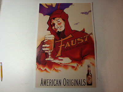 """New Old Stock Anheuser Busch Faust Beer Poster 13""""x20"""" Advertising Print Devil"""