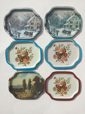 "Vintage Lot Of 6 Tin Tip Serving Trays Currier Ives Butterflies 7 1/2"" x  6 1/4"""