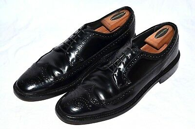 Vtg HANOVER MasterFlex 13 A Black Leather Made in the USA Long Wingtip Bluchers