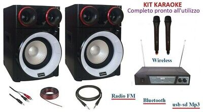 Kit Impianto Audio Karaoke Casse Mixer Bluetooth + Microfoni Wireless Wifi 900Wt