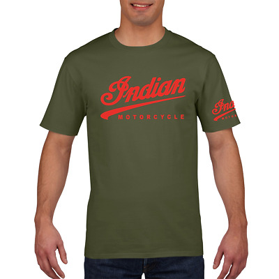 Indian Ted Motorcycle Biker Vintage Classic Premium T-Shirt Retro Gift Mens RED
