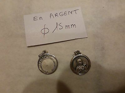 lot de 2 ancienne médaille en argent St THERESE old french silver medal 1960