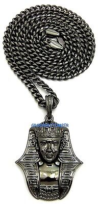 Pharaoh Egyptian Pendant Necklace With 24 Inch Long 5mm Wide Cuban Chain