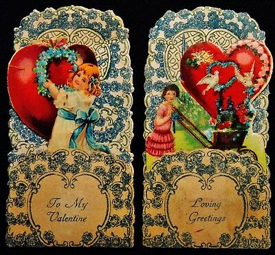 """2 Small (2.5"""" x 4.5"""") Victorian Era Pop out Valentine's Day Standing Cards"""