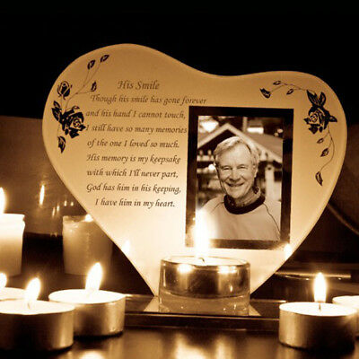 Memorial Photo Frame Candle Holder His Her Smile Mum Dad Parents Husband Wife