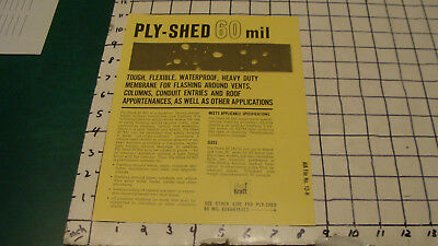 HIGH GRADE Original -- 1950's PLY-SHED 60mil double sided ad sheet GLAS KRAFT