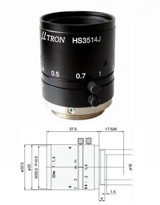 "1PC U-Tron HS3514J 2Megapixel 2/3"" 35mm F1.4 C industrial camera lens#SS"