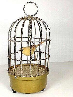 Vtg Singing Bird In Brass Birdcage Real Yellow Feathers Gold Cage Music Box