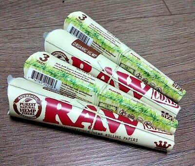 4 Packs X 3 = 12 Pcs RAW Organic Hemp King size Pre Rolled Cones Rolling Paper