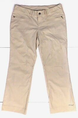 Columbia Omni Shade Women Pants 12 Beige Stretch Zip Front Pockets Hiking Casual