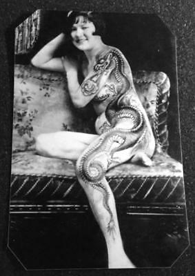 Unique Bizarre Odd Interesting Vintage Tattooed Lady I tintype C1202RP