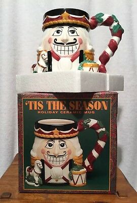 Tis The Season NUTCRACKER Christmas Holiday Ceramic Mug Hand Painted New
