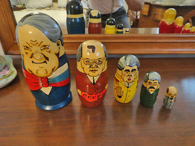 Vintage Russian Presidents Wood Nesting Dolls
