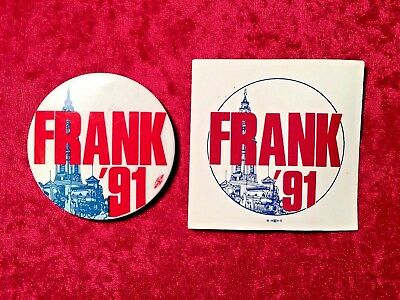Frank Rizzo 1991 Campaign Button & Sticker Philadelphia Election when Frank Died