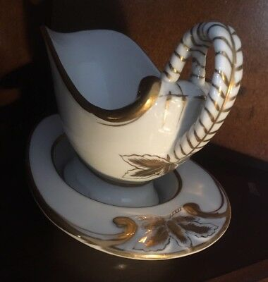 Small White Sauce/Gravy Boat with Saucer. Gold Leaf Trim