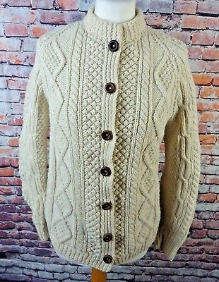 """Vintage cable knit cardigan S 10 bust 36"""" chunky cream wool hand knit Ireland"""