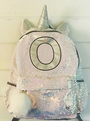 Justice Girls Unicorn Backpack Bag and Lunch Box Tote Initial Letter O Sequin