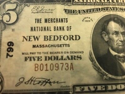 1929 $5 Merchants National Bank NEW BEDFORD MA MASSACHUSETTS Ch 799